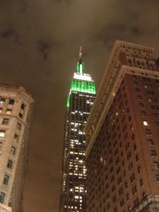 Empire State Building, groen verlicht ter ere van de Jets
