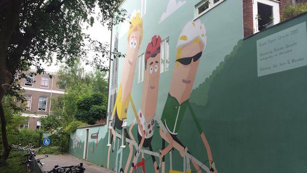 muurschildering Mulderstraat Utrecht ter ere van de tour