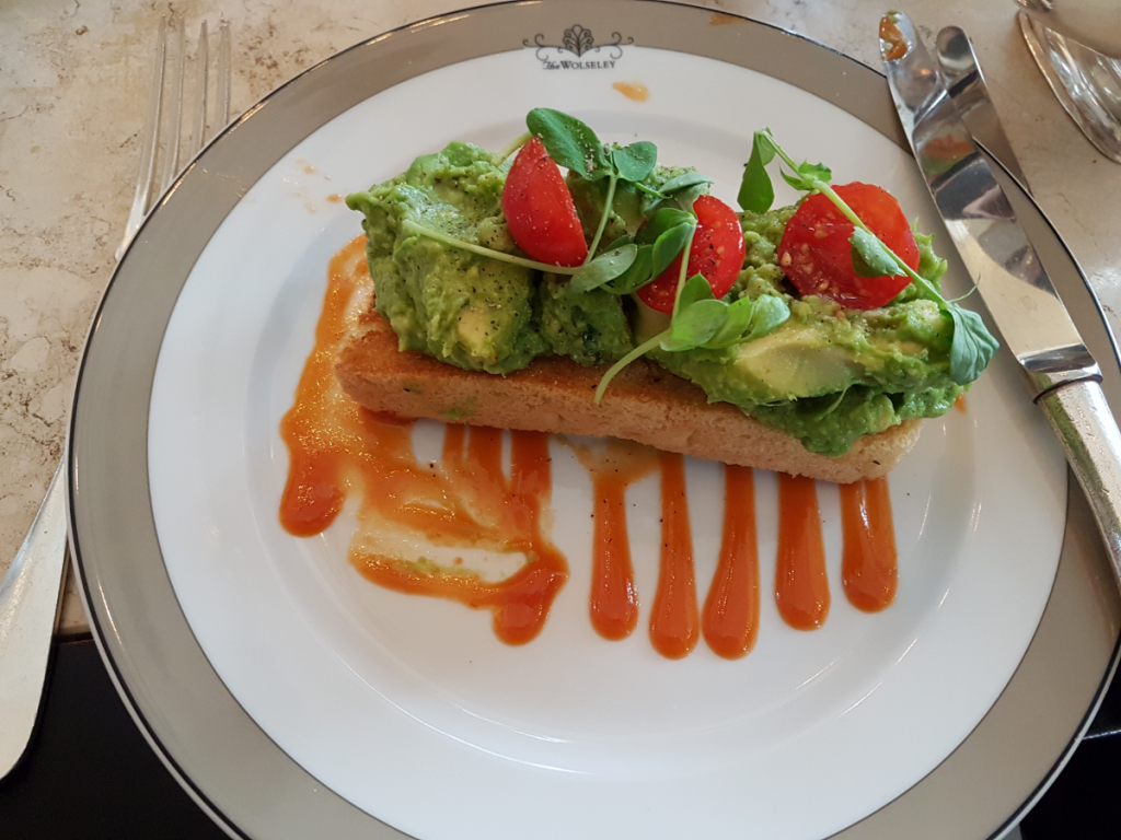 avocado on toast at the Wolseley